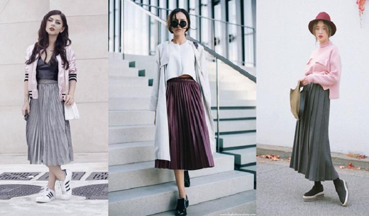 bộ sưu tập cách phối đồ với chân váy xếp lý dài