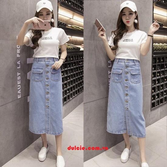 Mix chân váy Jean dài với áo len (3)