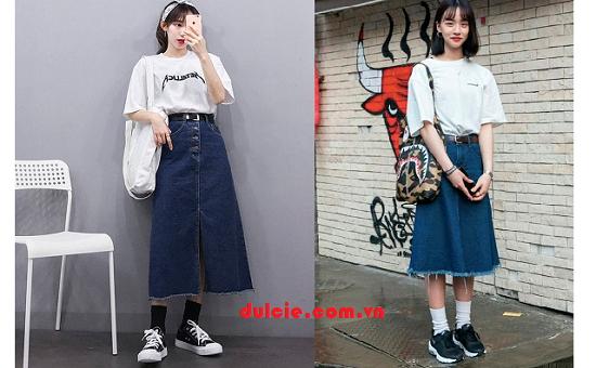 Mix chân váy Jean dài với áo len (4)