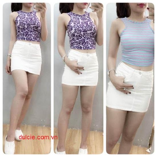 Chân váy jean trắng kết hợp với áo gì? 2